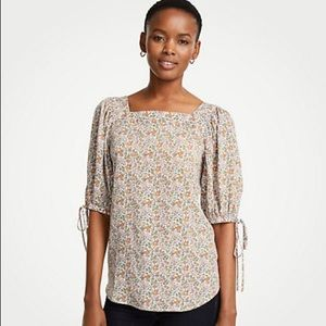 Ann Taylor Floral Puff Sleeve Square Neck Blouse